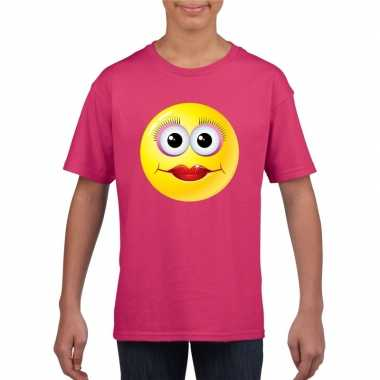 Emoticon t shirt diva roze kinderen