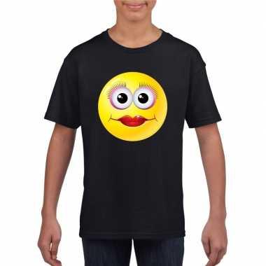 Emoticon t shirt diva zwart kinderen