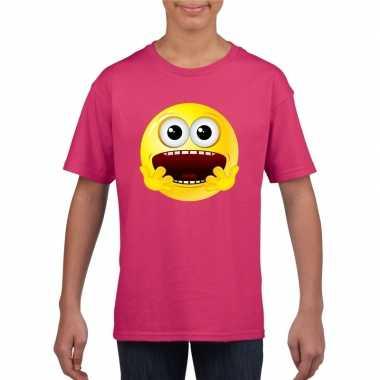 Emoticon t shirt geschrokken roze kinderen