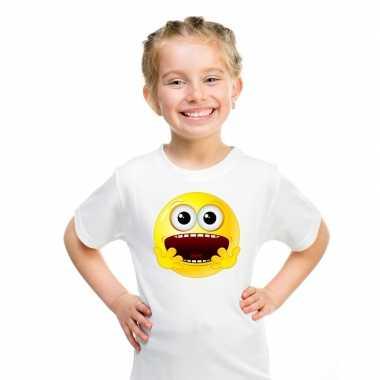 Emoticon t shirt geschrokken wit kinderen