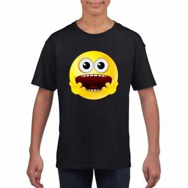 Emoticon t shirt geschrokken zwart kinderen