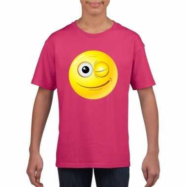 Emoticon t shirt knipoog roze kinderen