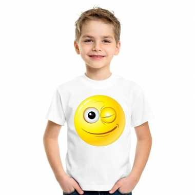 Emoticon t-shirt knipoog wit kinderen