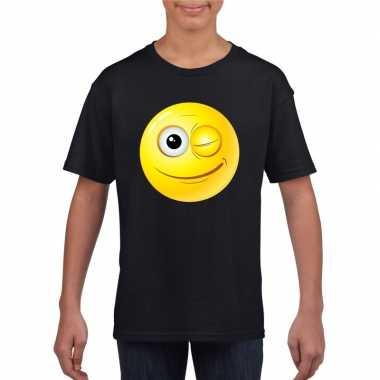 Emoticon t shirt knipoog zwart kinderen