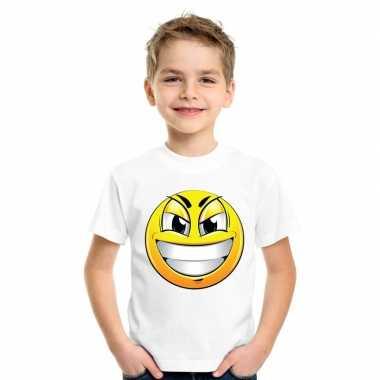 Emoticon t shirt ondeugend wit kinderen