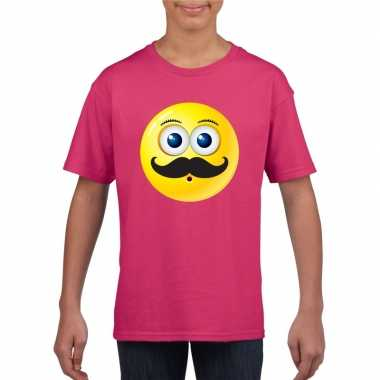 Emoticon t shirt snor roze kinderen