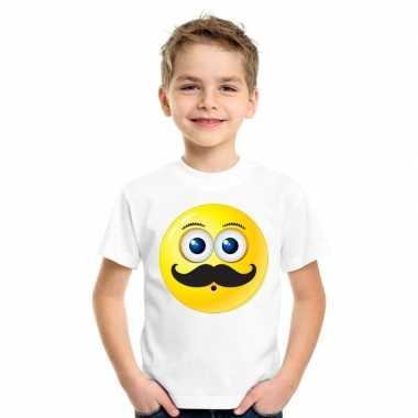 Emoticon t shirt snor wit kinderen