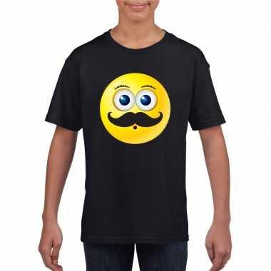 Emoticon t shirt snor zwart kinderen