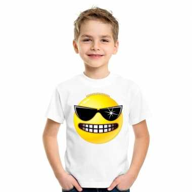Emoticon t shirt stoer wit kinderen