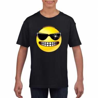 Emoticon t shirt stoer zwart kinderen