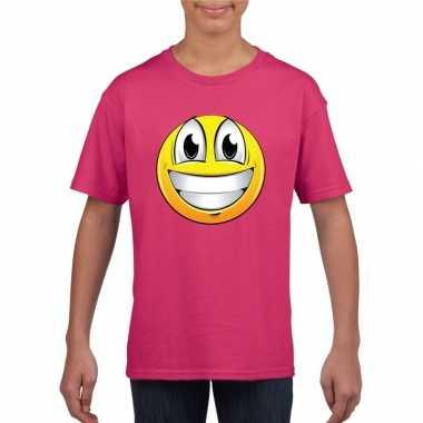 Emoticon t shirt super vrolijk roze kinderen