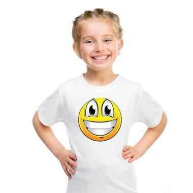 Emoticon t shirt super vrolijk wit kinderen