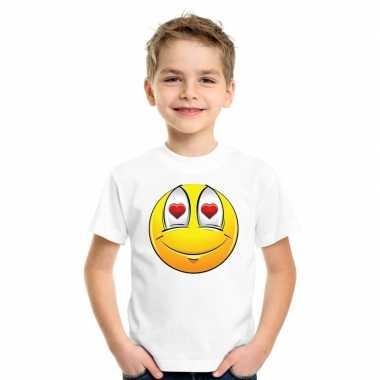 Emoticon t shirt verliefd wit kinderen