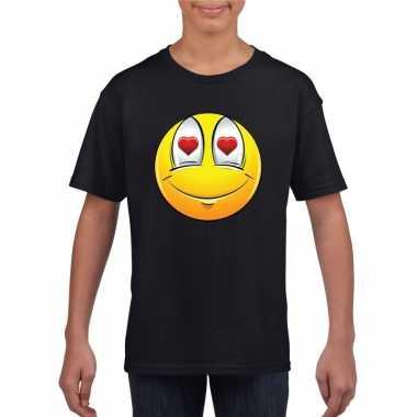 Emoticon t shirt verliefd zwart kinderen
