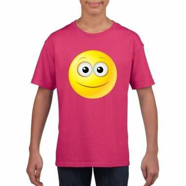 Emoticon t shirt vrolijk roze kinderen