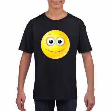 Emoticon t shirt vrolijk zwart kinderen