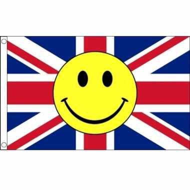 Engelse vlag met emoticon 90 x 150 cm