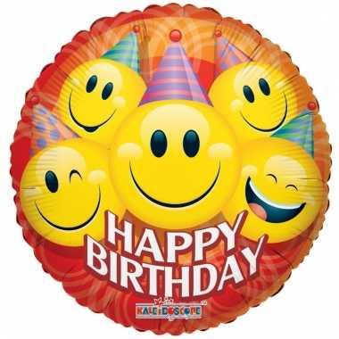Folie ballon emoticon jarig 45 cm