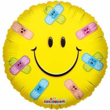 Folie ballon emoticon met pleisters 45 cm