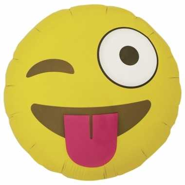 Folie ballon knipoog emoticon 46 cm
