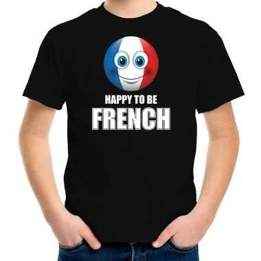 Frankrijk emoticon happy to be french landen t shirt zwart kinderen