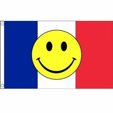 Franse vlag met emoticon 90 x 150 cm