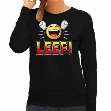 Funny emoticon sweater leef zwart dames