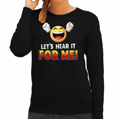 Funny emoticon sweater lets hear it for me zwart dames