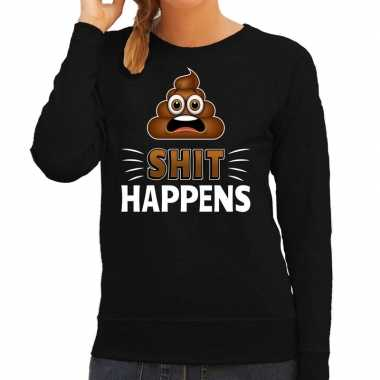 Funny emoticon sweater shit happens zwart dames