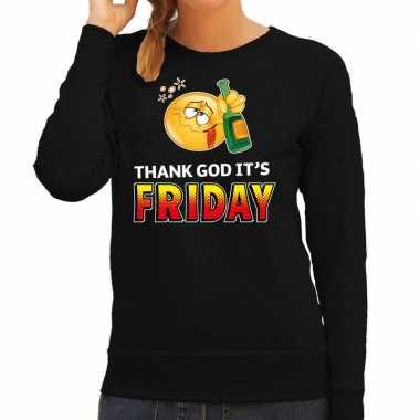 Funny emoticon sweater thank god its friday zwart dames