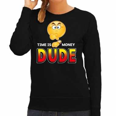 Funny emoticon sweater time is money dude zwart dames