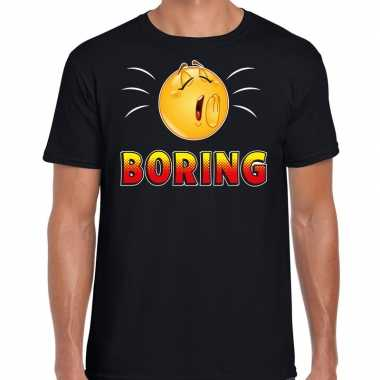 Funny emoticon t shirt boring zwart voor heren