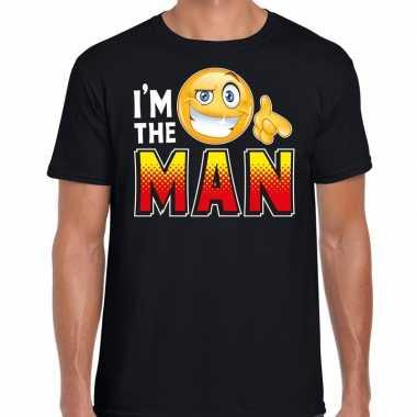 Funny emoticon t shirt i am the man zwart voor heren