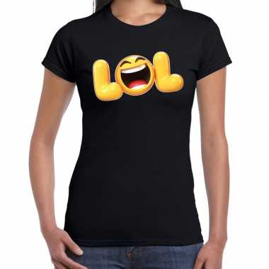 Funny emoticon t shirt lol zwart voor dames