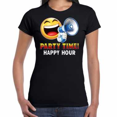 Funny emoticon t shirt party time happy hour zwart dames