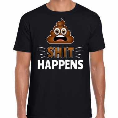 Funny emoticon t shirt shit happens zwart voor heren