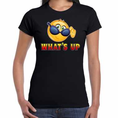 Funny emoticon t shirt whats up zwart voor dames