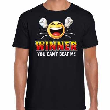 Funny emoticon t shirt winner you cant beat mezwart voor heren