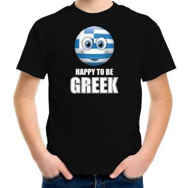 Griekenland emoticon happy to be greek landen t shirt zwart kinderen