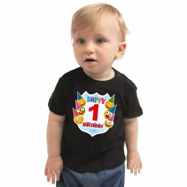 Happy birthday 1e verjaardag t shirt / shirt 1 jaar met emoticons zwart voor baby