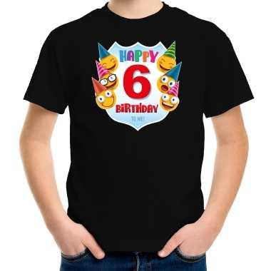 Happy birthday 6e verjaardag t shirt / shirt 6 jaar met emoticons zwart voor kleuters / kinderen