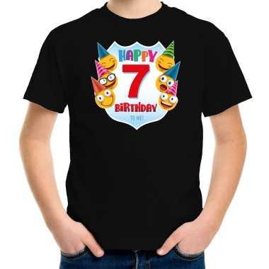 Happy birthday 7e verjaardag t shirt / shirt 7 jaar met emoticons zwart voor kinderen