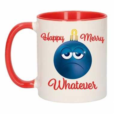 Happy merry whatever kerstcadeau kerstmok rood emoticon kerstbal 300 ml