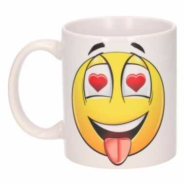 Hartjes ogen emoticon mok / beker 300 ml
