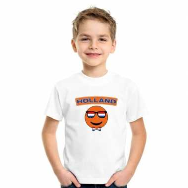 Holland coole emoticon t shirt wit kinderen