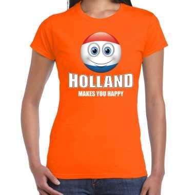 Holland makes you happy landen t-shirt nederland oranje voor dames met emoticon