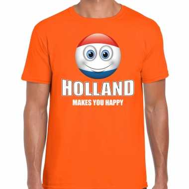 Holland makes you happy landen t shirt nederland oranje voor heren met emoticon