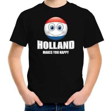 Holland makes you happy landen t shirt nederland zwart voor kinderen met emoticon