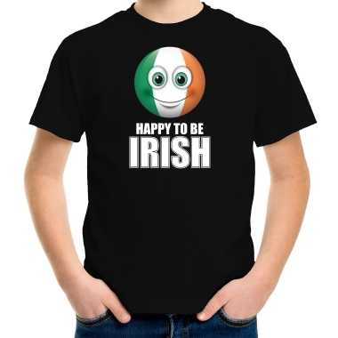 Ierland emoticon happy to be irish landen t shirt zwart kinderen