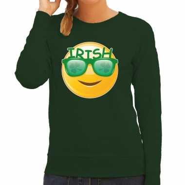 Irish emoticon / st. patricks day sweater / kostuum groen dames